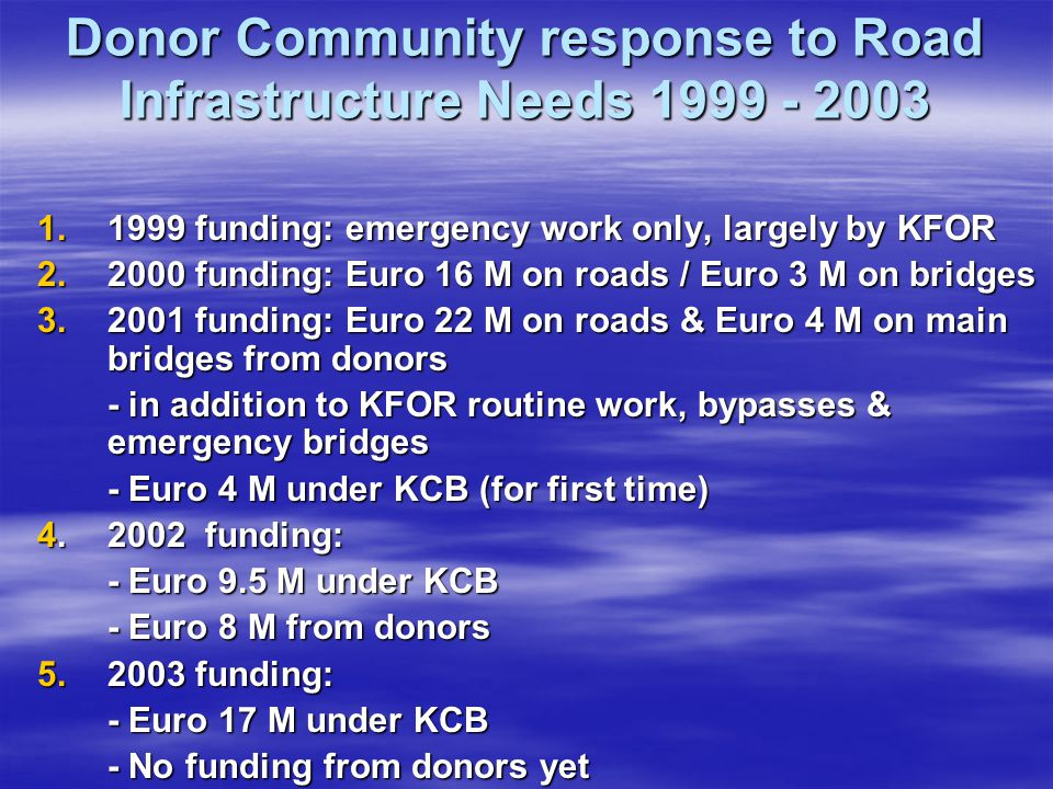 Donor Community response to Road Infrastructure Needs 1999 - 2003
