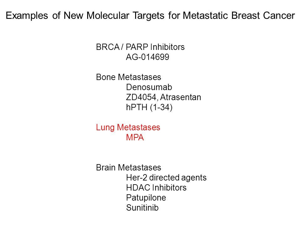Examples of New Molecular Targets for Metastatic Breast Cancer