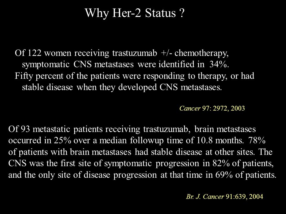 Why Her-2 Status Of 122 women receiving trastuzumab +/- chemotherapy, symptomatic CNS metastases were identified in 34%.