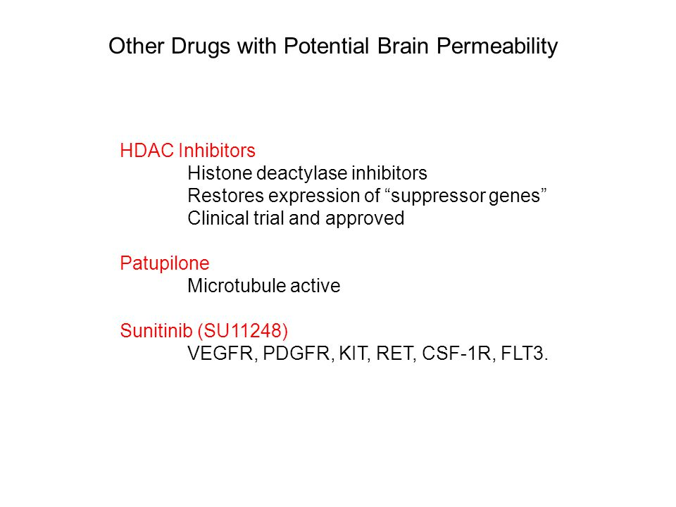 Other Drugs with Potential Brain Permeability