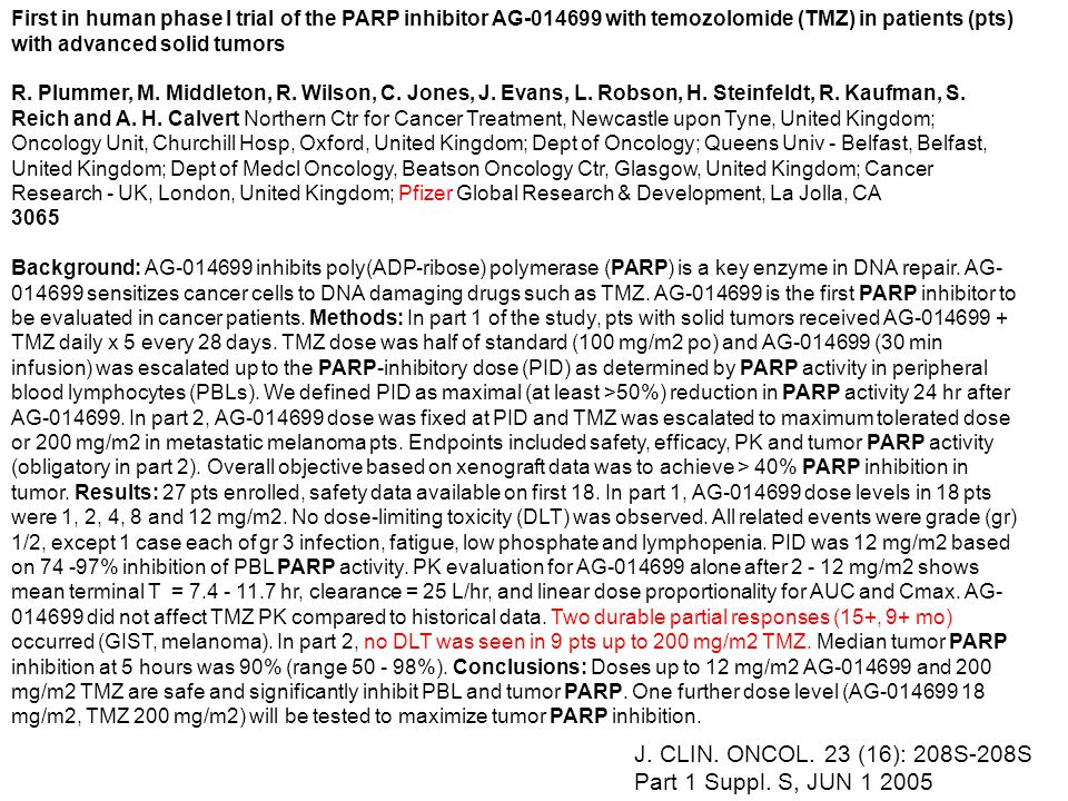 J. CLIN. ONCOL. 23 (16): 208S-208S Part 1 Suppl. S, JUN 1 2005