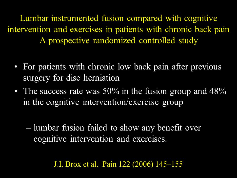 Lumbar instrumented fusion compared with cognitive intervention and exercises in patients with chronic back pain A prospective randomized controlled study