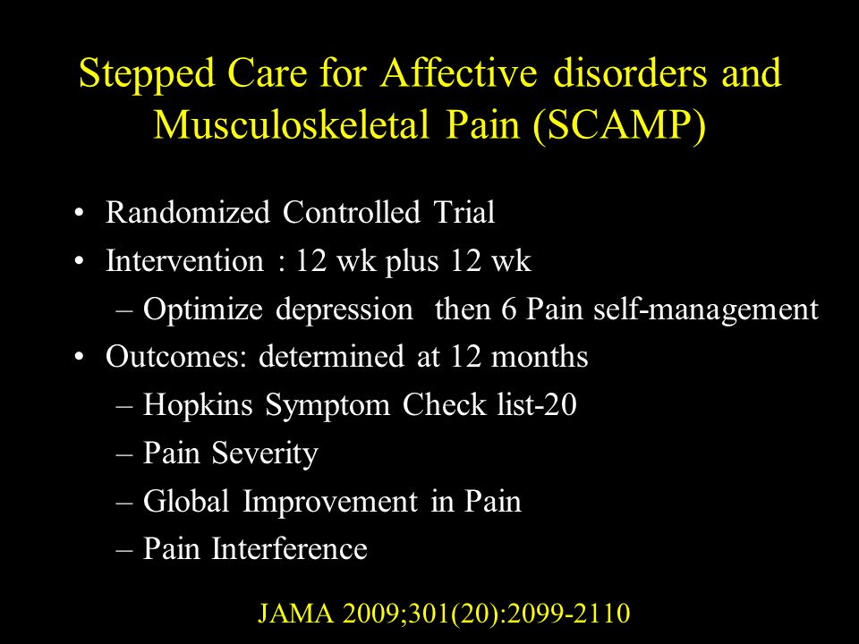 Stepped Care for Affective disorders and Musculoskeletal Pain (SCAMP)