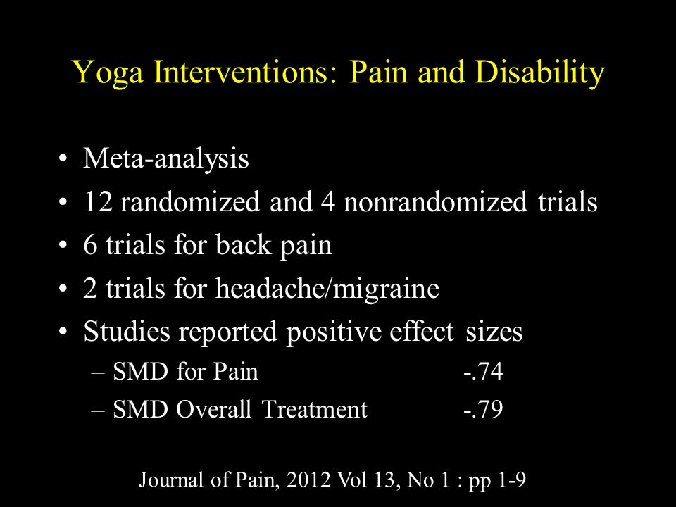 Yoga Interventions: Pain and Disability