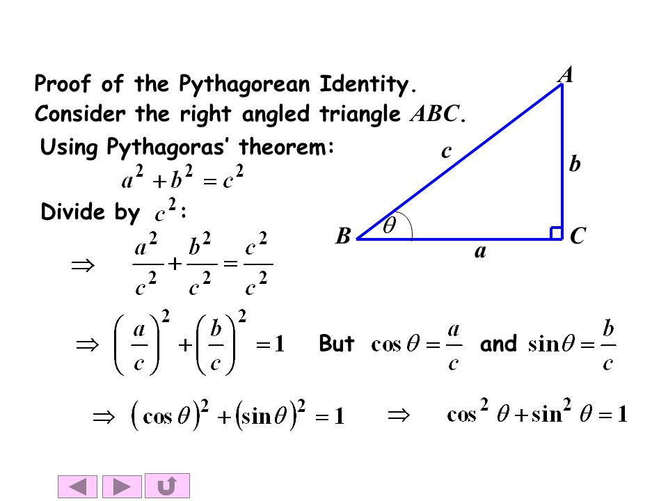 c a b A B C Proof of the Pythagorean Identity.