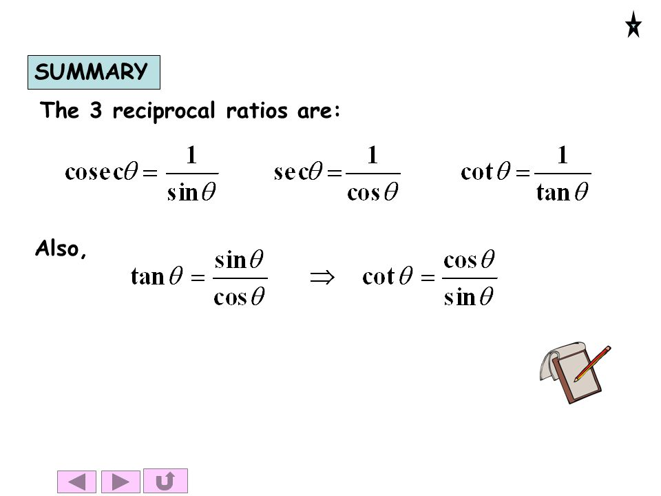 SUMMARY The 3 reciprocal ratios are: Also,