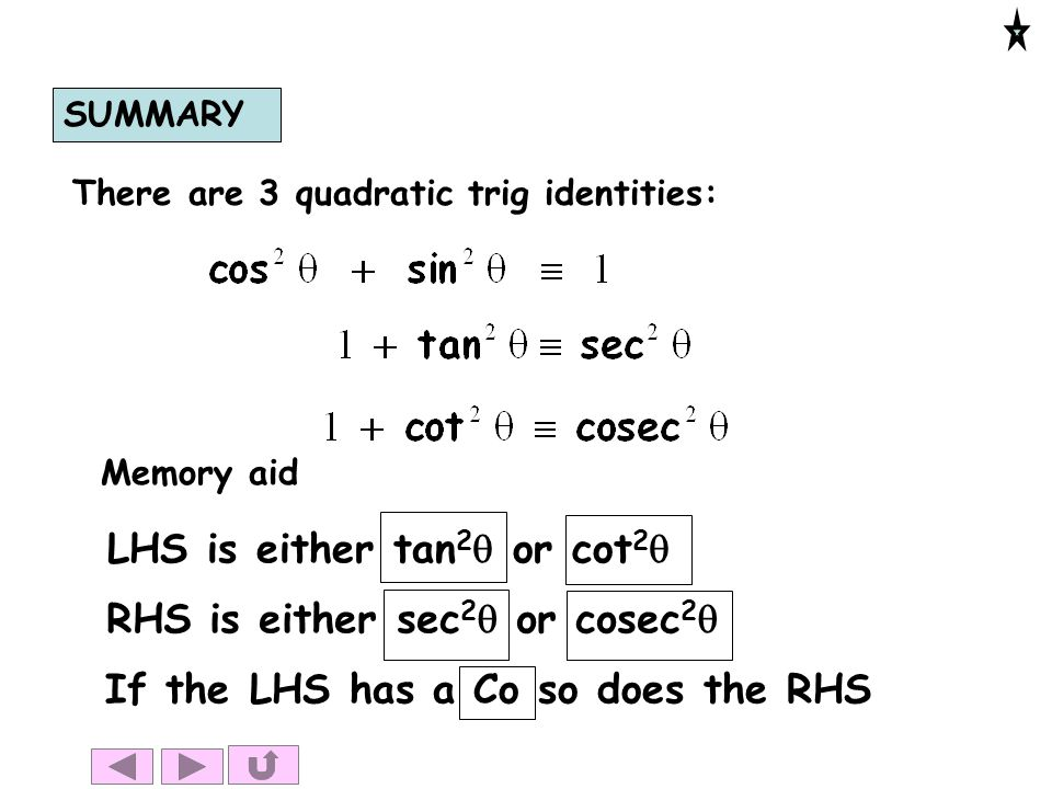 LHS is either tan2q or cot2q