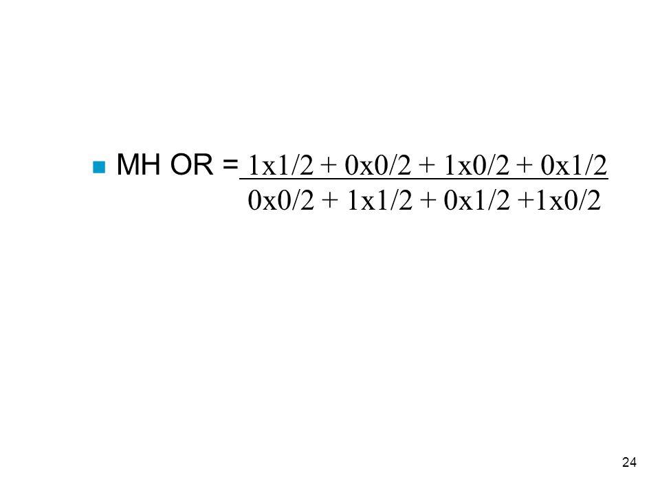 MH OR = 1x1/2 + 0x0/2 + 1x0/2 + 0x1/2 0x0/2 + 1x1/2 + 0x1/2 +1x0/2