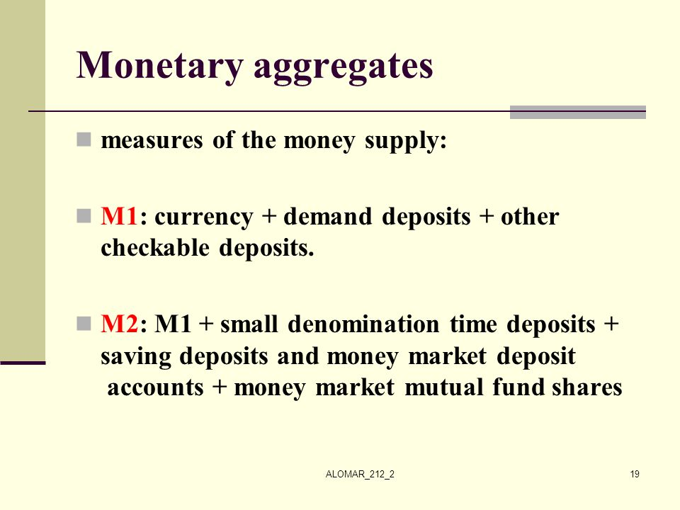 Monetary aggregates measures of the money supply: