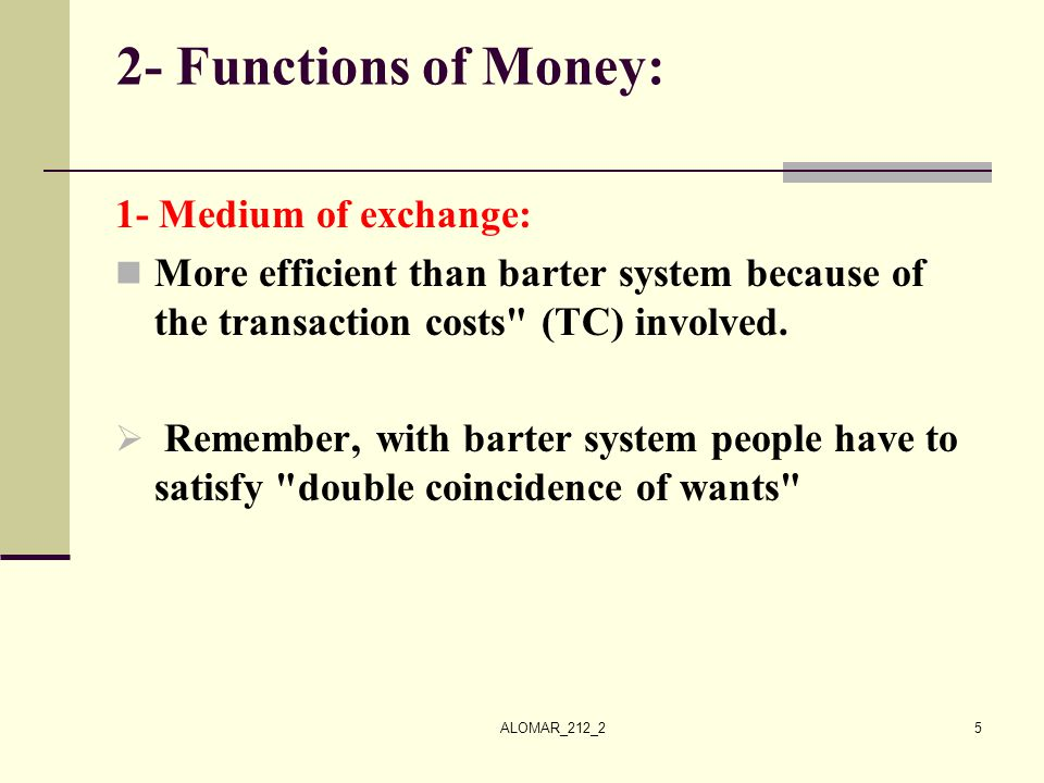 2- Functions of Money: 1- Medium of exchange: