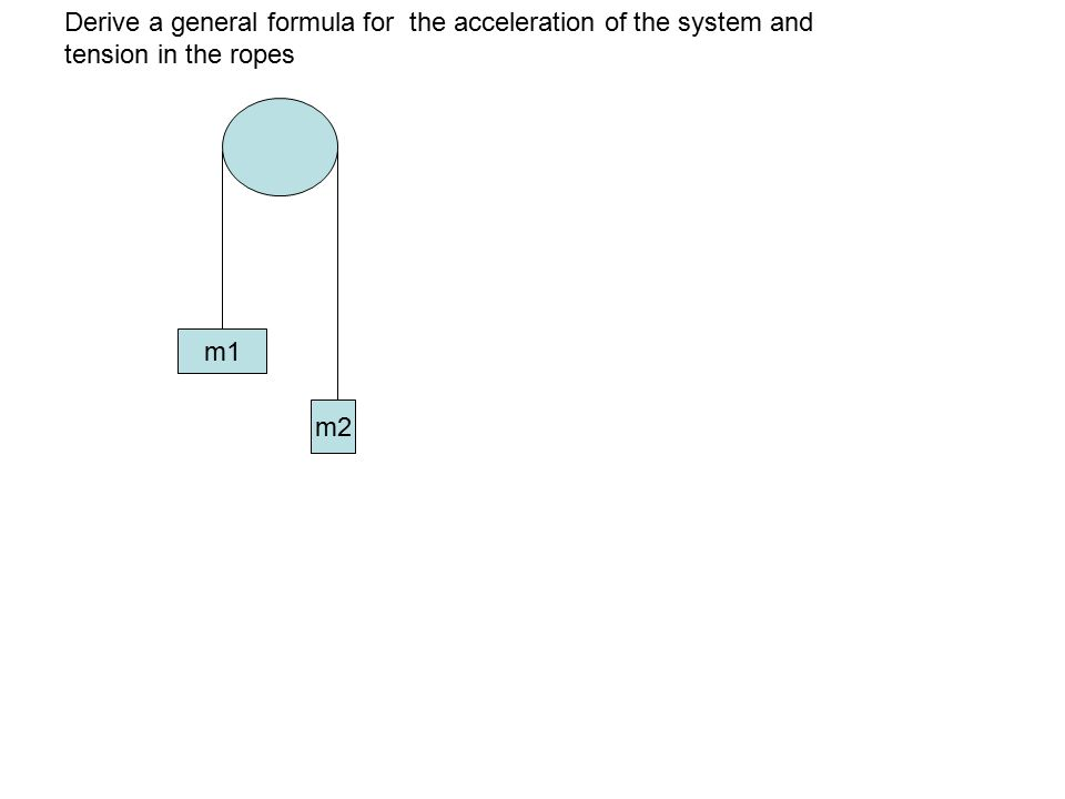 Derive a general formula for the acceleration of the system and tension in the ropes