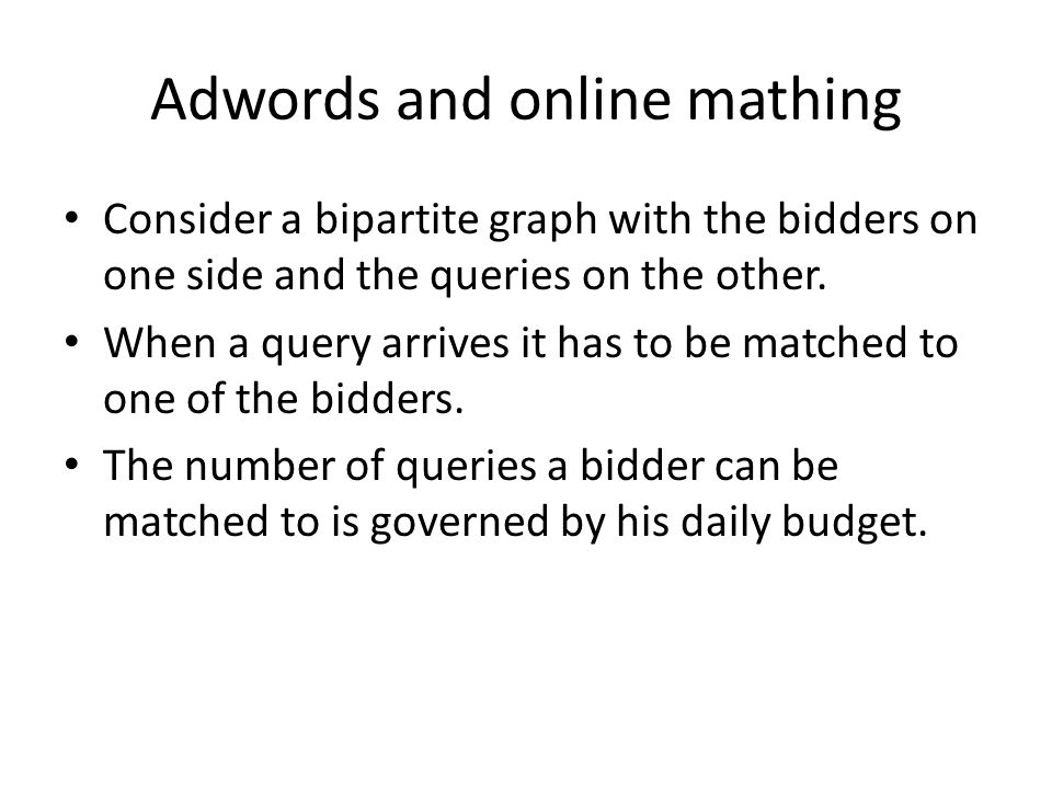 Adwords and online mathing