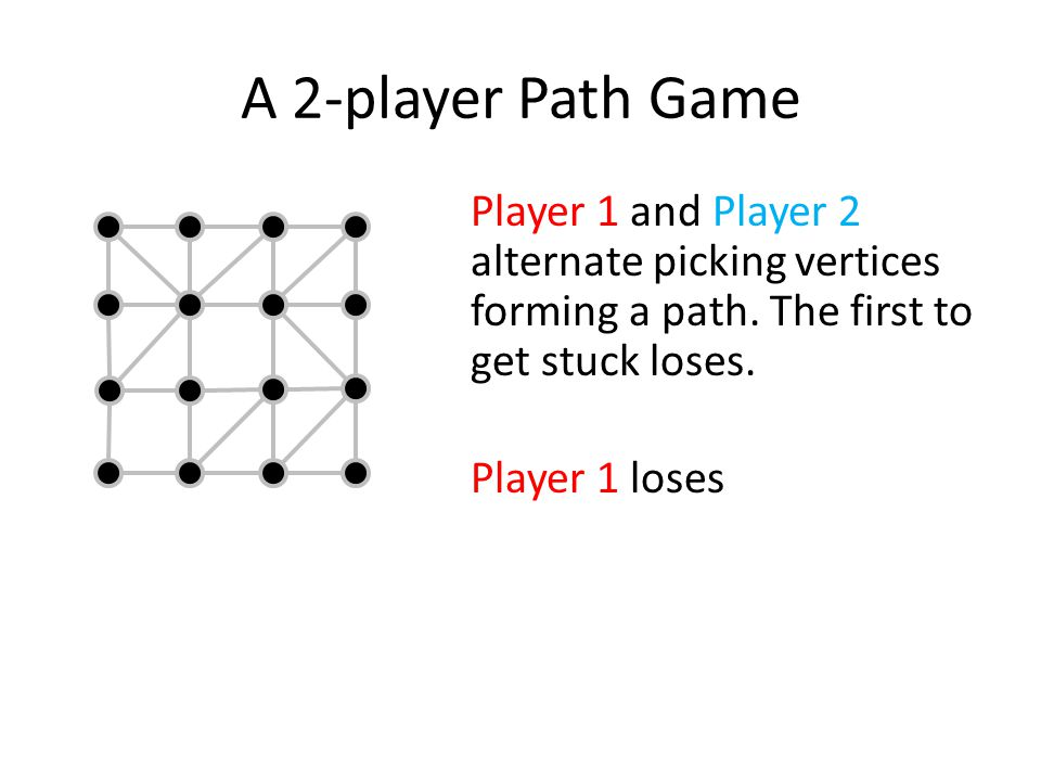 A 2-player Path Game Player 1 and Player 2 alternate picking vertices forming a path. The first to get stuck loses.