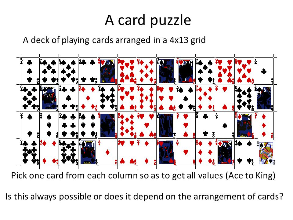 A card puzzle A deck of playing cards arranged in a 4x13 grid