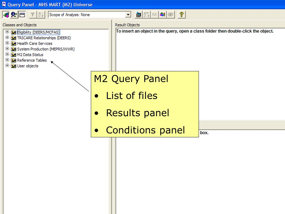 M2 Query Panel List of files Results panel Conditions panel