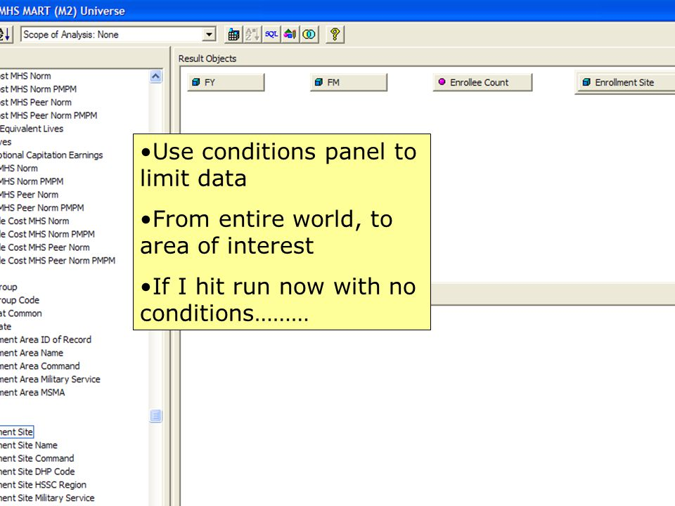 Use conditions panel to limit data