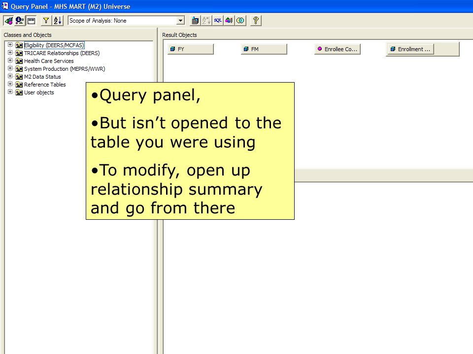Query panel, But isn't opened to the table you were using.