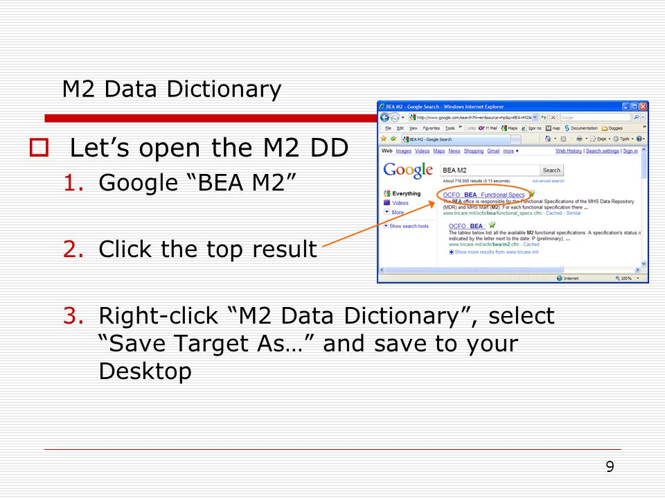 Let's open the M2 DD M2 Data Dictionary Google BEA M2