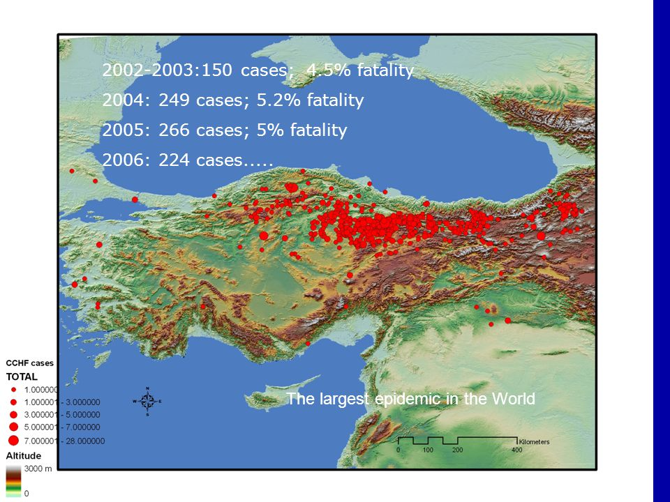 2002-2003:150 cases; 4.5% fatality 2004: 249 cases; 5.2% fatality. 2005: 266 cases; 5% fatality. 2006: 224 cases.....