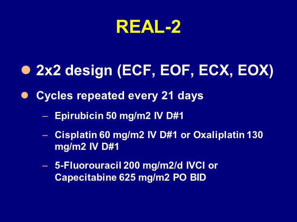 REAL-2 2x2 design (ECF, EOF, ECX, EOX) Cycles repeated every 21 days