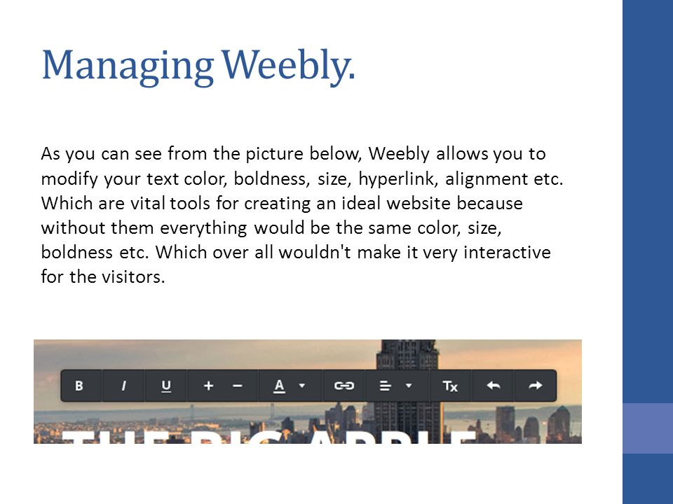 Managing Weebly.