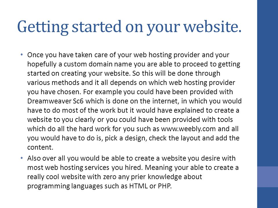 Getting started on your website.