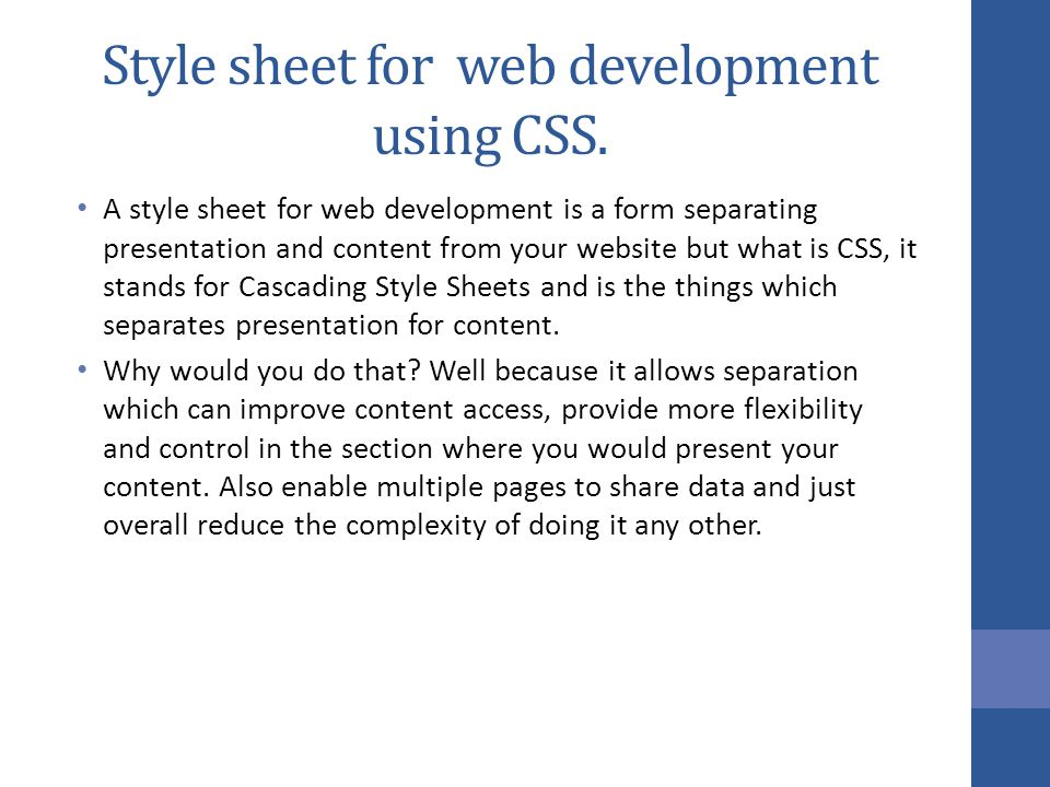 Style sheet for web development using CSS.