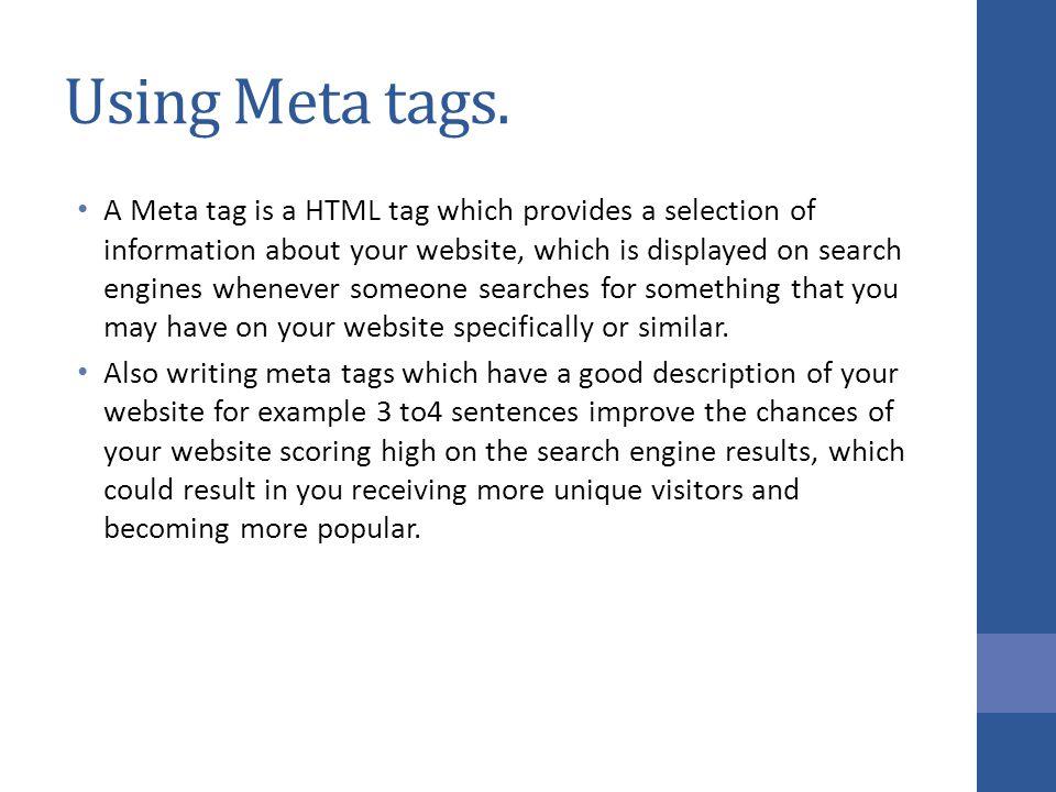 Using Meta tags.