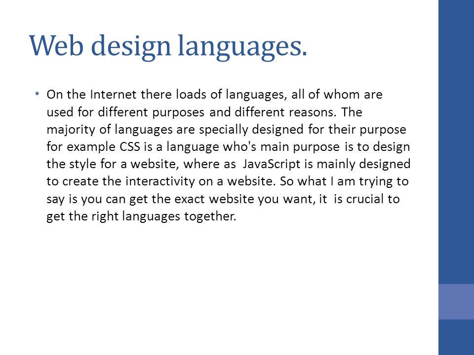Web design languages.
