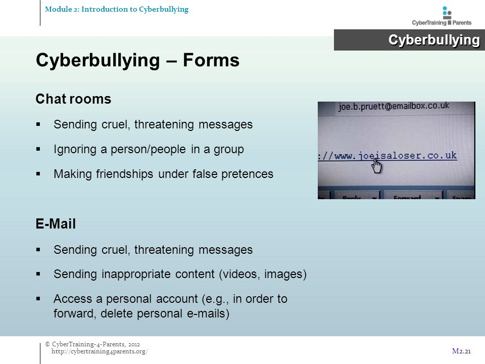 Cyberbullying – Forms Cyberbullying Chat rooms E-Mail