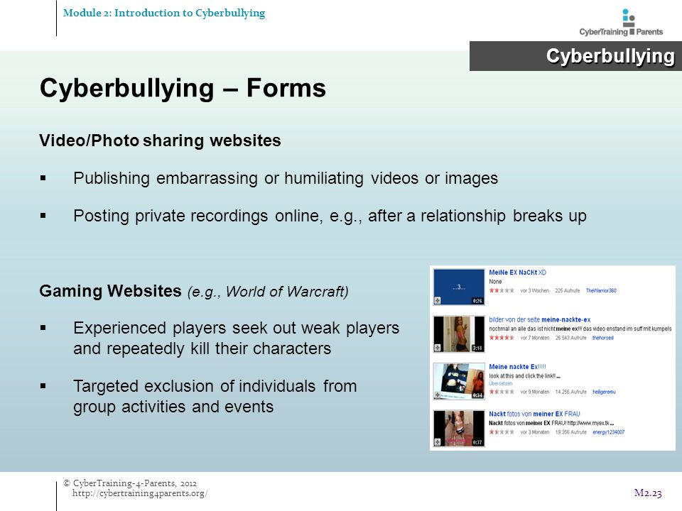 Cyberbullying – Forms Cyberbullying Video/Photo sharing websites