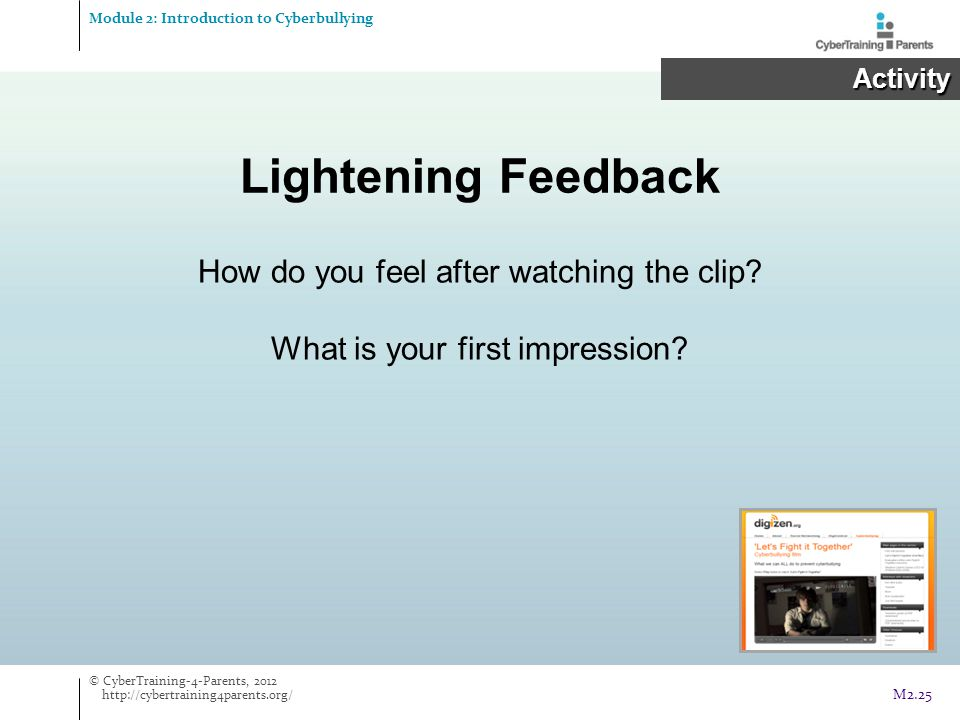 Lightening Feedback How do you feel after watching the clip