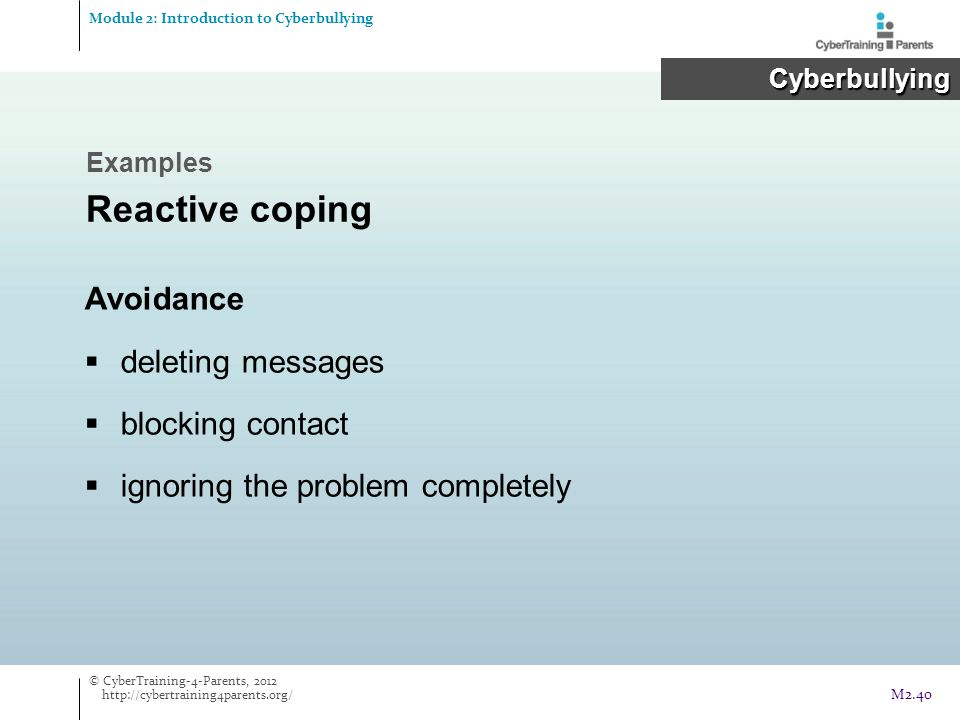 Reactive coping Avoidance deleting messages blocking contact
