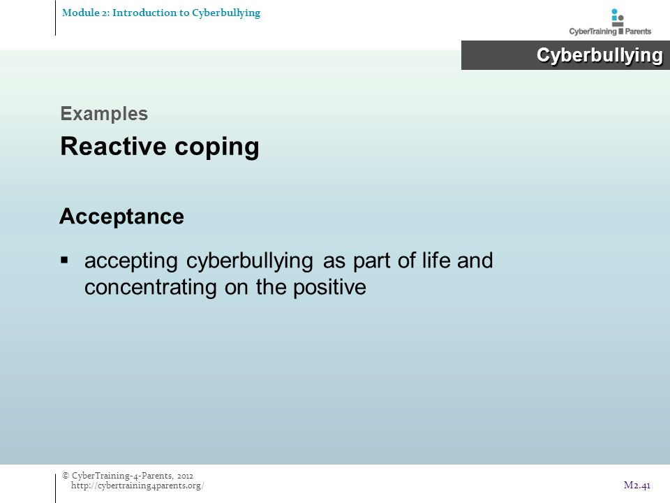 Reactive coping Acceptance