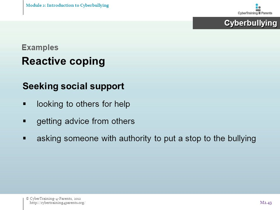 Reactive coping Seeking social support looking to others for help