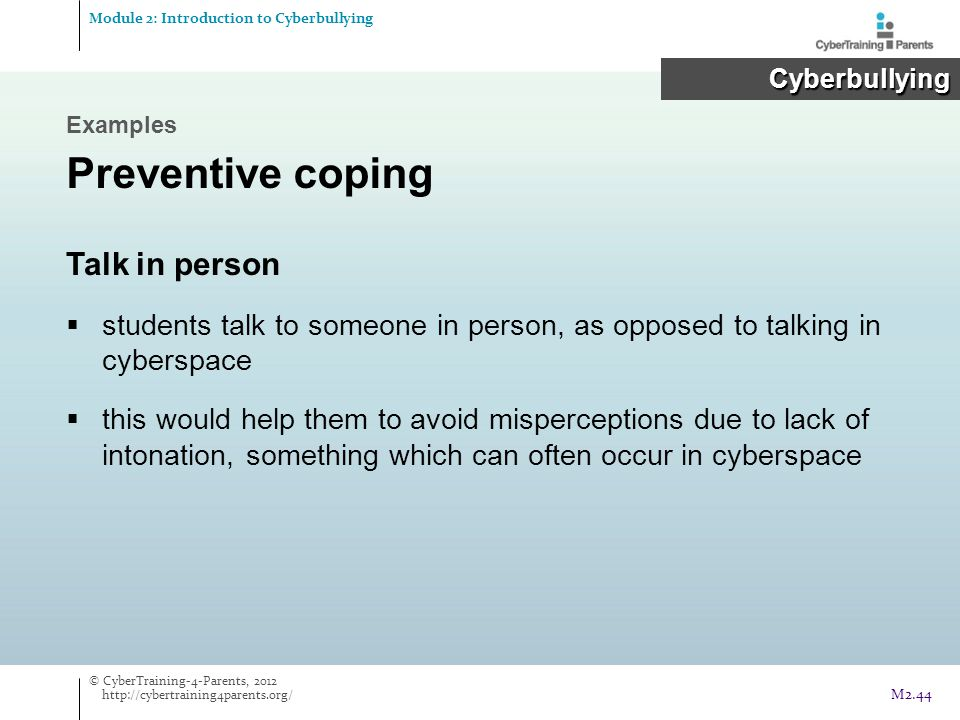 Preventive coping Talk in person