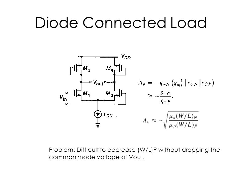 Diode Connected Load Problem: Difficult to decrease (W/L)P without dropping the.