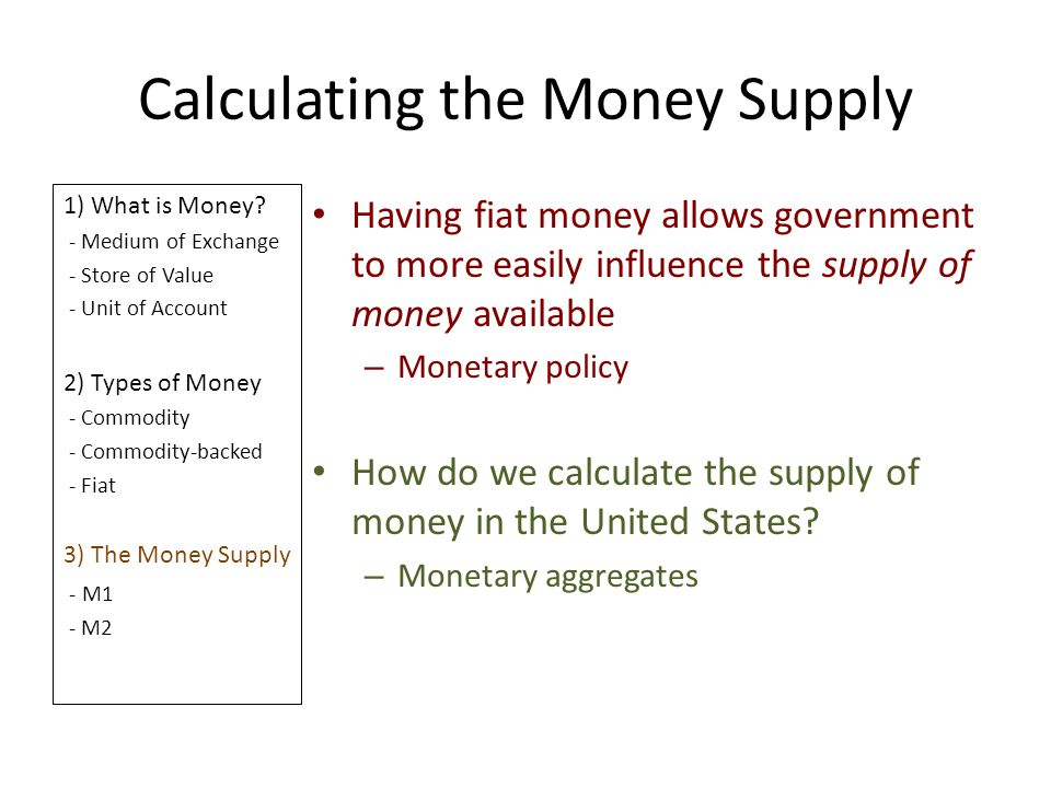 Calculating the Money Supply