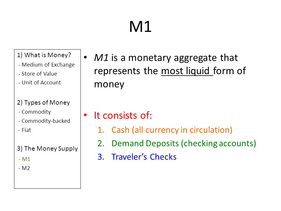 M1 1) What is Money - Medium of Exchange. - Store of Value. - Unit of Account. 2) Types of Money.
