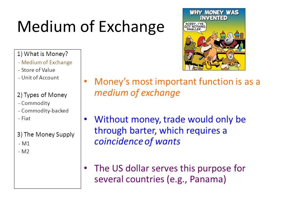 Medium of Exchange 1) What is Money - Medium of Exchange. - Store of Value. - Unit of Account. 2) Types of Money.