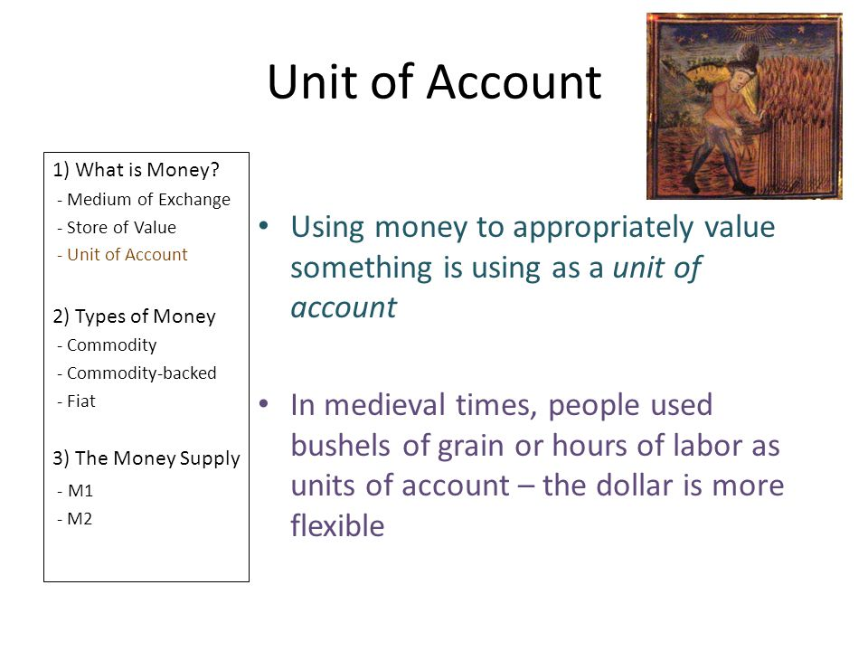 Unit of Account 1) What is Money - Medium of Exchange. - Store of Value. - Unit of Account. 2) Types of Money.
