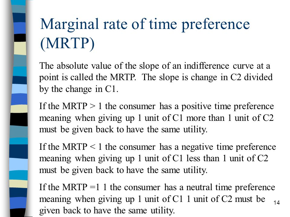 Marginal rate of time preference (MRTP)