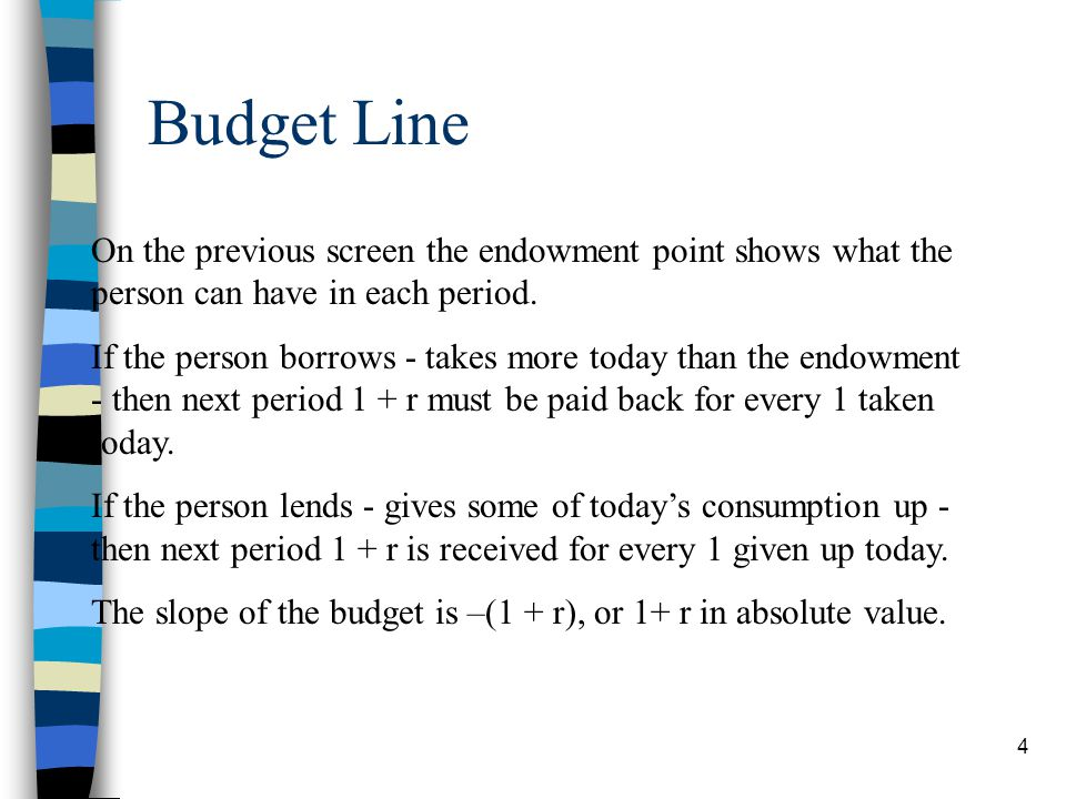 Budget Line On the previous screen the endowment point shows what the person can have in each period.