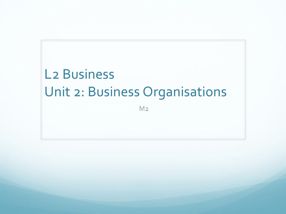 L2 Business Unit 2: Business Organisations