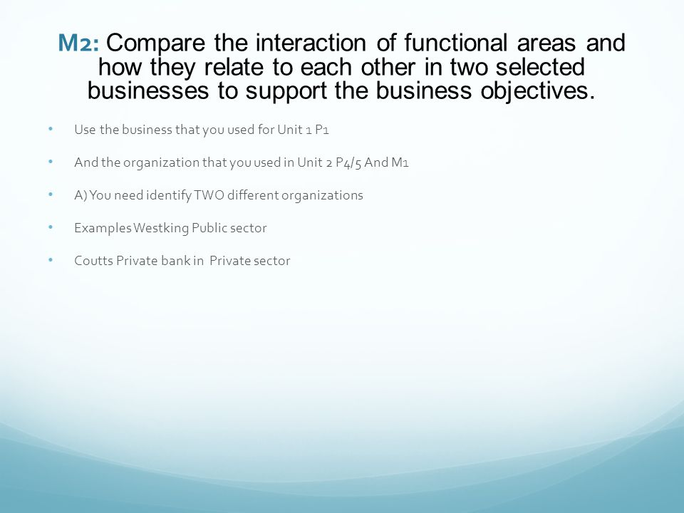 M2: Compare the interaction of functional areas and how they relate to each other in two selected businesses to support the business objectives.
