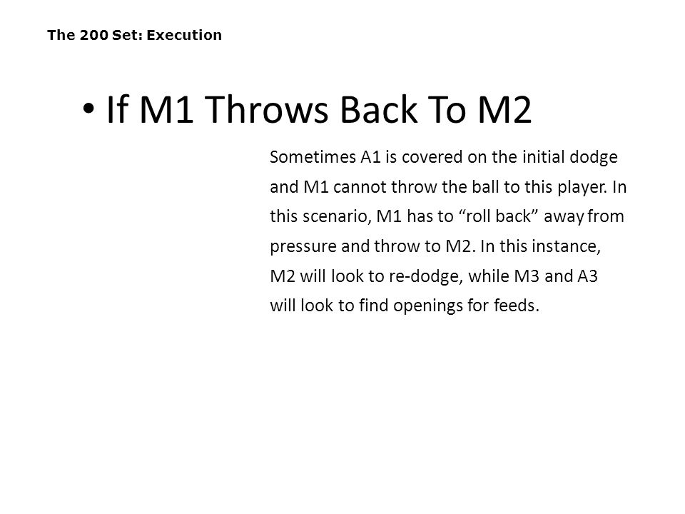 The 200 Set: Execution If M1 Throws Back To M2.