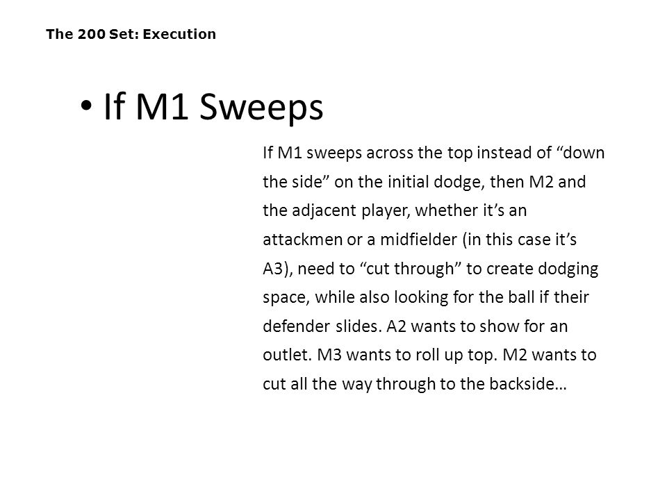 The 200 Set: Execution If M1 Sweeps.