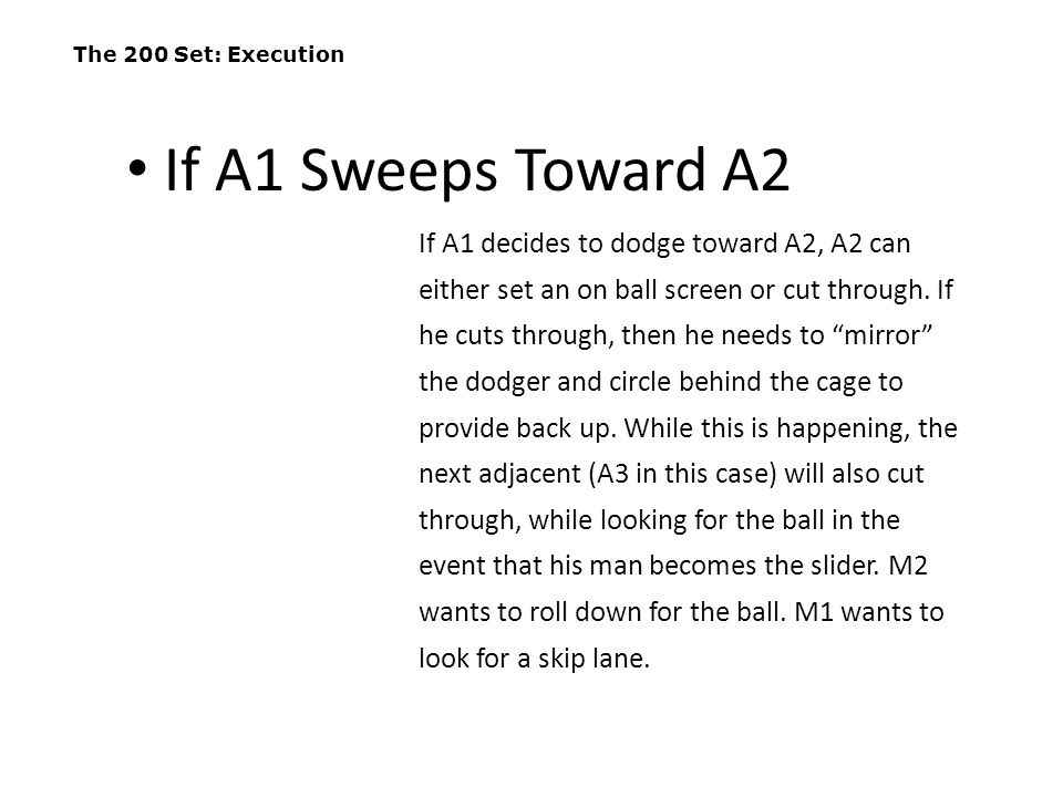 The 200 Set: Execution If A1 Sweeps Toward A2.