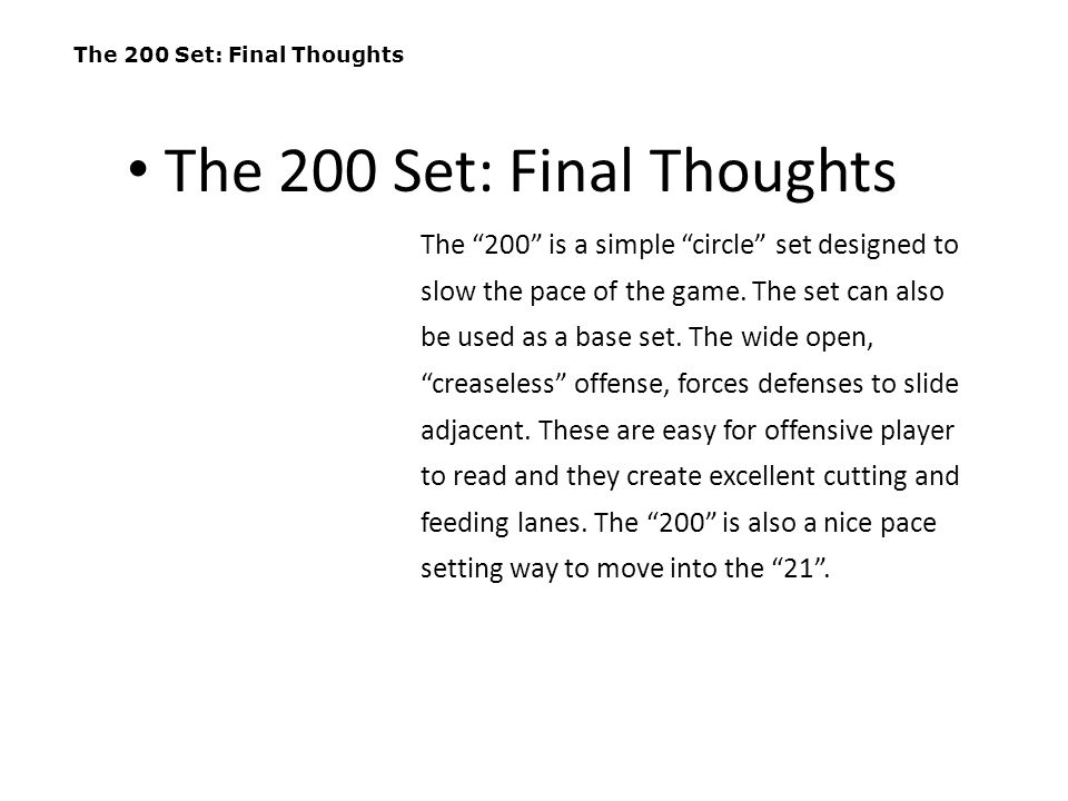 The 200 Set: Final Thoughts