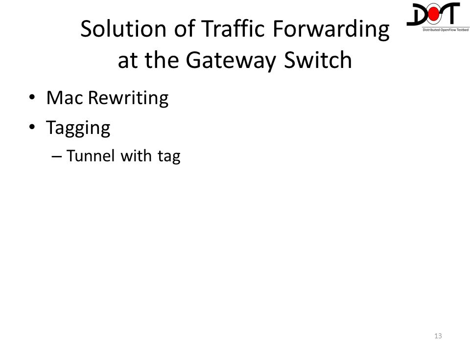 Solution of Traffic Forwarding at the Gateway Switch